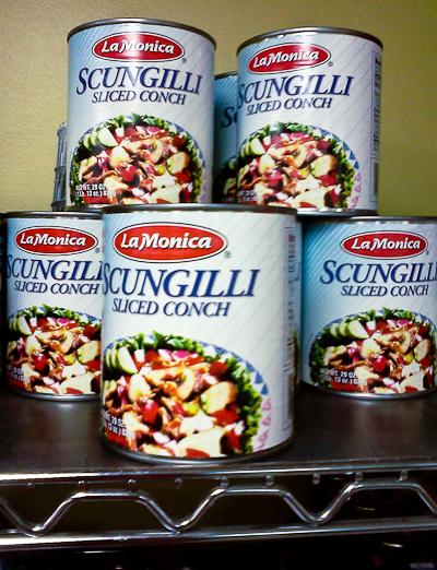 Canned scungilli at Piccolo Market, Sarasota